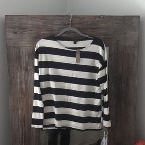 J.Crew Navy + White Striped Shirt